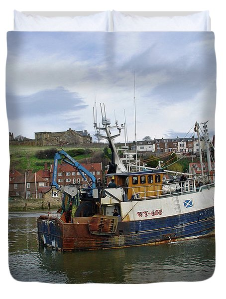 Fishing Trawler WY 485 at Whitby Duvet Cover by Rod Johnson