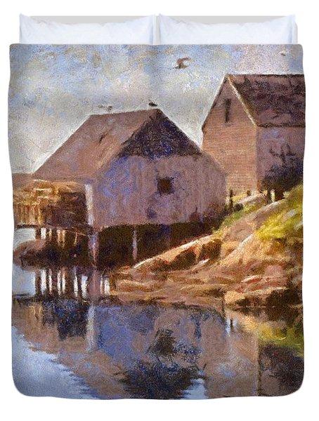 Fishing Wharf Duvet Cover by Jeff Kolker