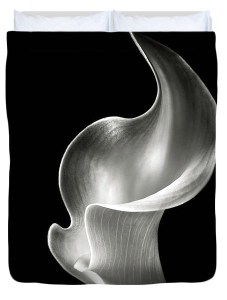 Flame Calla Lily in Black and White Duvet Cover by Endre Balogh
