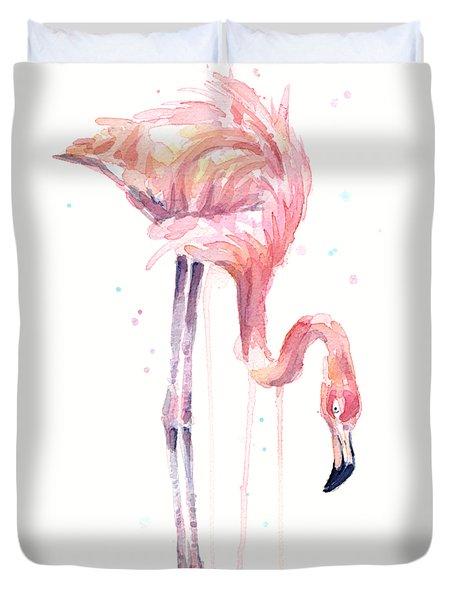 Flamingo Illustration Watercolor - Facing Left Duvet Cover by Olga Shvartsur