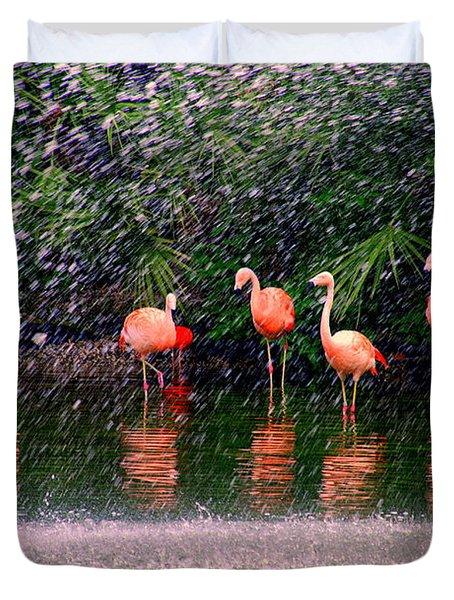 Flamingos II Duvet Cover by Susanne Van Hulst