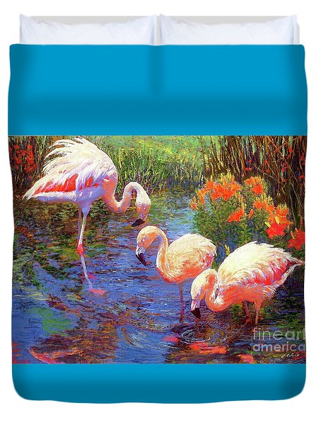 Flamingos, Tangerine Dream Duvet Cover by Jane Small