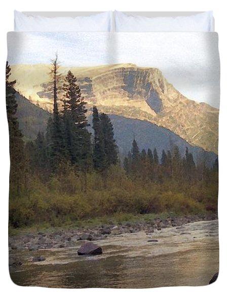 Flathead River Duvet Cover by Richard Rizzo