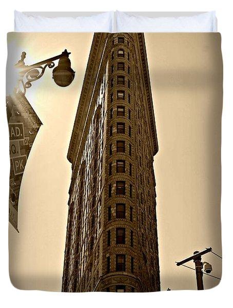 Flatiron Sepia Duvet Cover by Randy Aveille