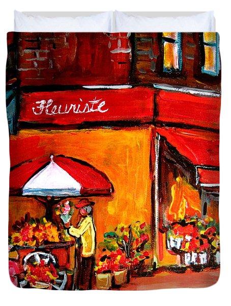 Fleuriste Bernard Florist Montreal Duvet Cover by Carole Spandau