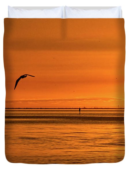 Flight At Sunset Duvet Cover by Christopher Holmes