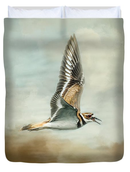 Flight Of The Killdeer Duvet Cover by Jai Johnson