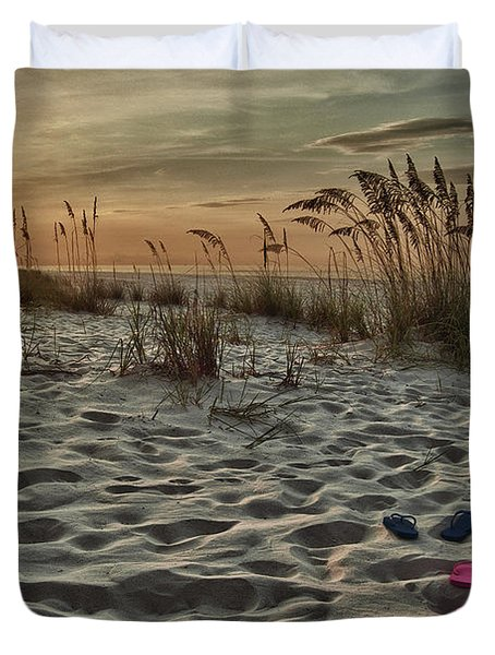 Flipflops on the Beach Duvet Cover by Michael Thomas