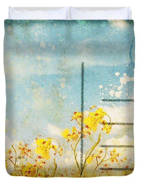 floral in blue sky postcard Duvet Cover by Setsiri Silapasuwanchai