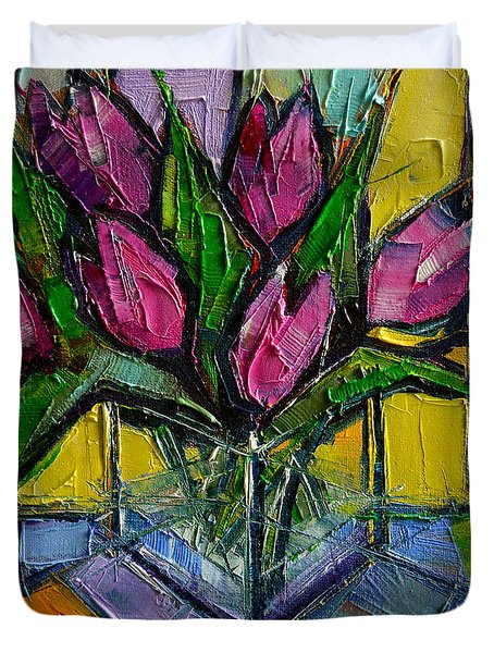Floral Miniature - Abstract 0615 - Pink Tulips Duvet Cover by Mona Edulesco