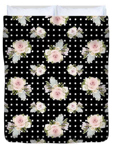Floral Rose Cluster W Dot Bedding Home Decor Art Duvet Cover by Audrey Jeanne Roberts