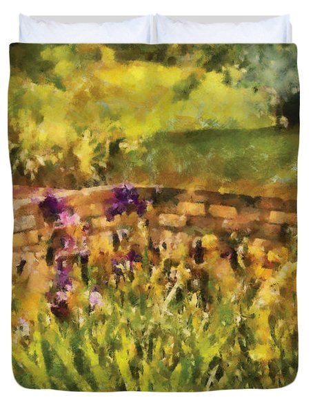Flower - Iris - By The Bridge Duvet Cover by Mike Savad