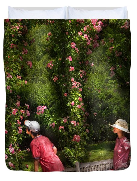 Flower - Rose - Smelling The Roses Duvet Cover by Mike Savad