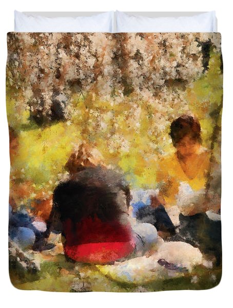 Flower - Sakura - Afternoon Picnic Duvet Cover by Mike Savad
