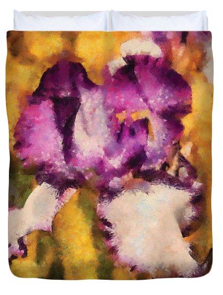 Flower - Iris - Diafragma Violeta Duvet Cover by Mike Savad