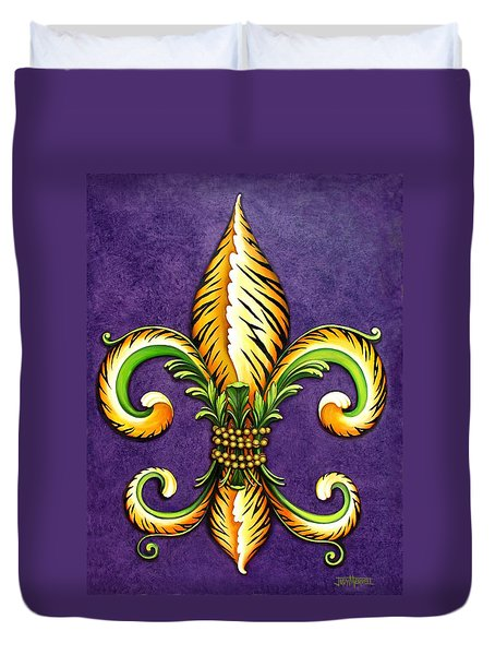 Flower Of New Orleans Lsu Duvet Cover by Judy Merrell