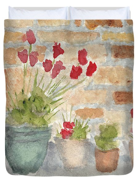 Flower Pots Duvet Cover by Ken Powers