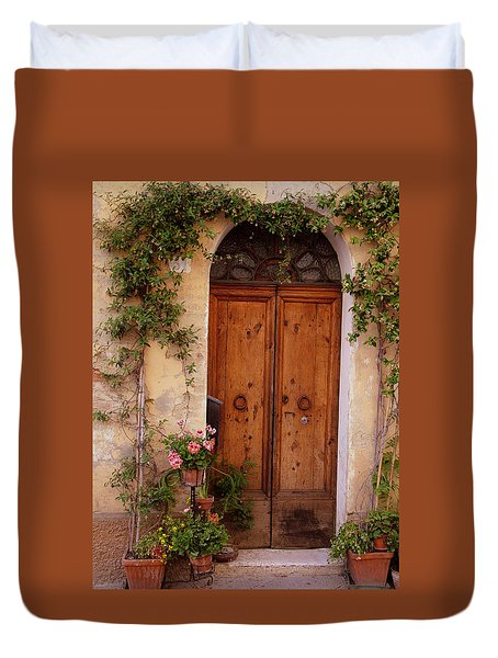 Flowered Tuscan Door Duvet Cover by Donna Corless