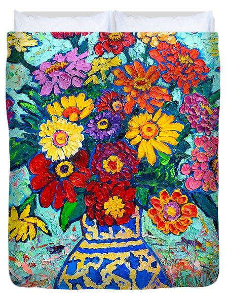 Flowers - Colorful Zinnias Bouquet Duvet Cover by Ana Maria Edulescu
