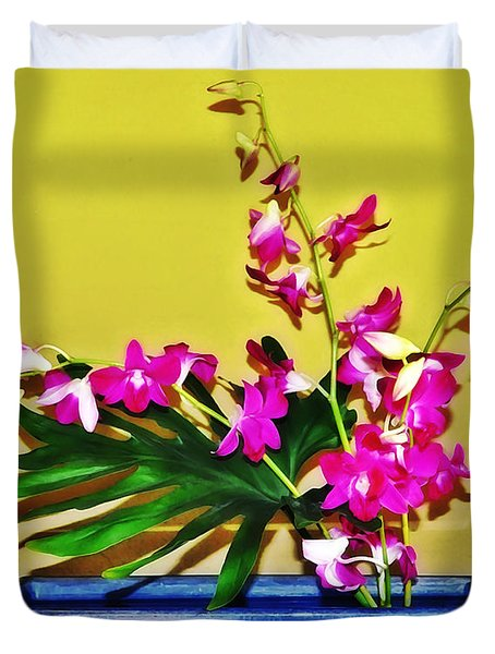 Flowers In A Blue Dish - Japanese House Duvet Cover by Simon Wolter