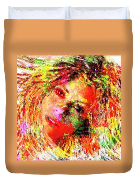 Flowery Shakira Duvet Cover by Navo Art