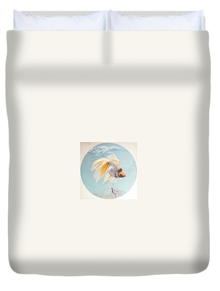 Flying In The Clouds Of Goldfish Duvet Cover by Chen Baoyi