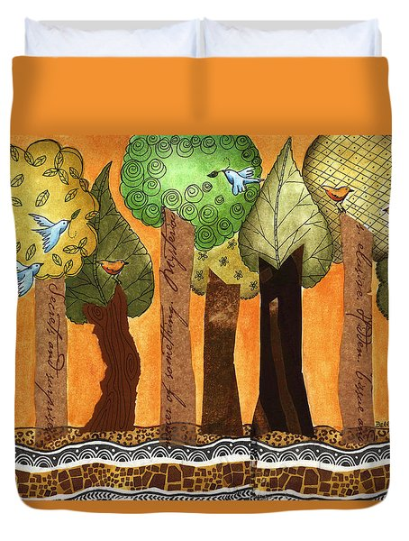 Flying In The Forest Duvet Cover by Graciela Bello