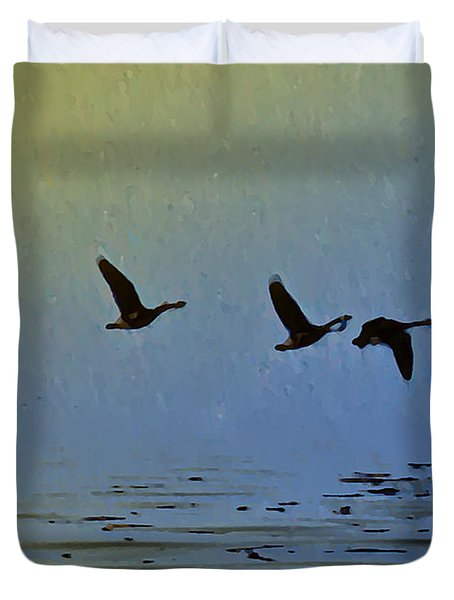 Flying Low Duvet Cover by Bill Cannon