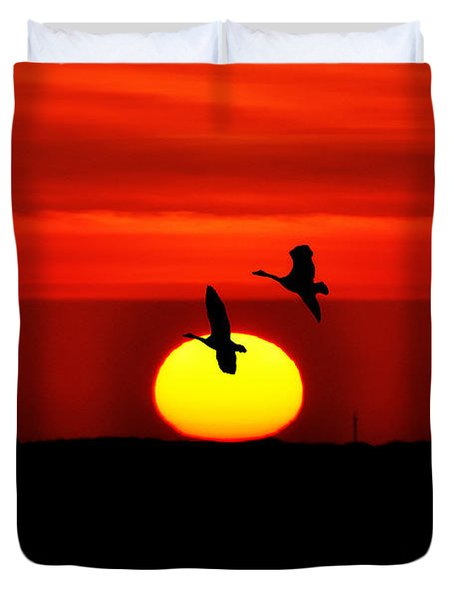 Flying North at Sunrise Duvet Cover by Bill Cannon