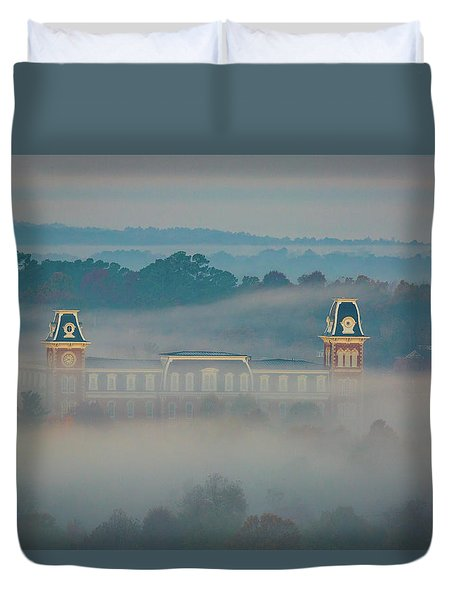 Fog At Old Main Duvet Cover by Damon Shaw