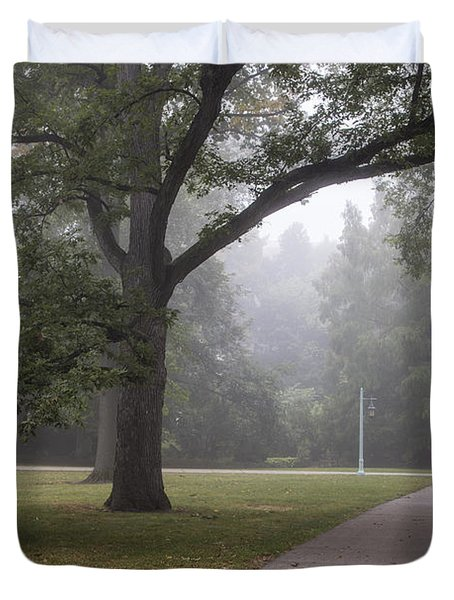 Foggy Campus  Duvet Cover by John McGraw