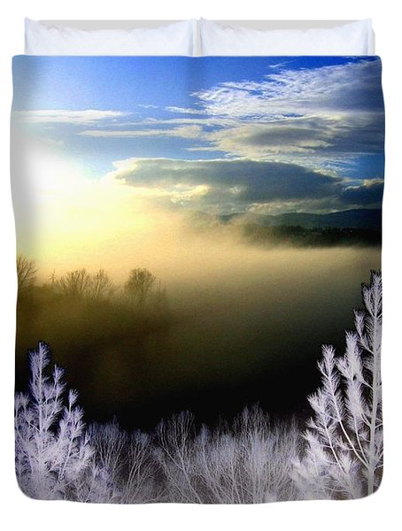 Foggy Winter Sunset Duvet Cover by Will Borden