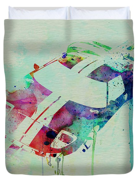 Ford Gt Top Watercolor  Duvet Cover by Naxart Studio