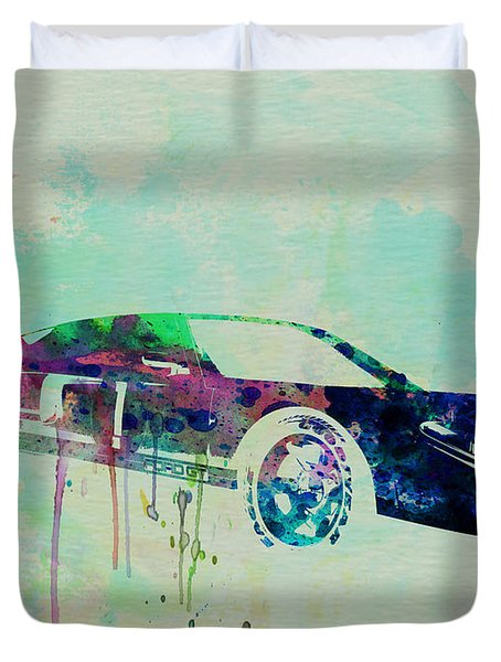 Ford Gt Watercolor 2 Duvet Cover by Naxart Studio