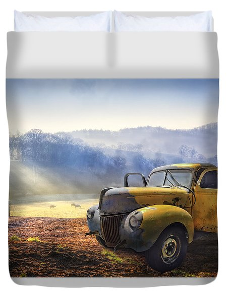 Ford In The Fog Duvet Cover by Debra and Dave Vanderlaan
