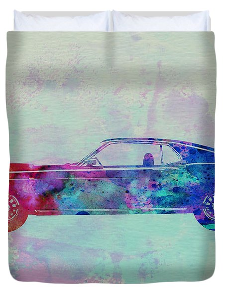 Ford Mustang Watercolor 1 Duvet Cover by Naxart Studio