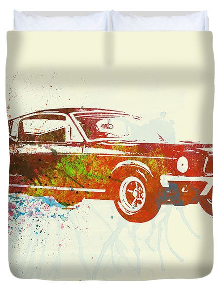 Ford Mustang Watercolor Duvet Cover by Naxart Studio