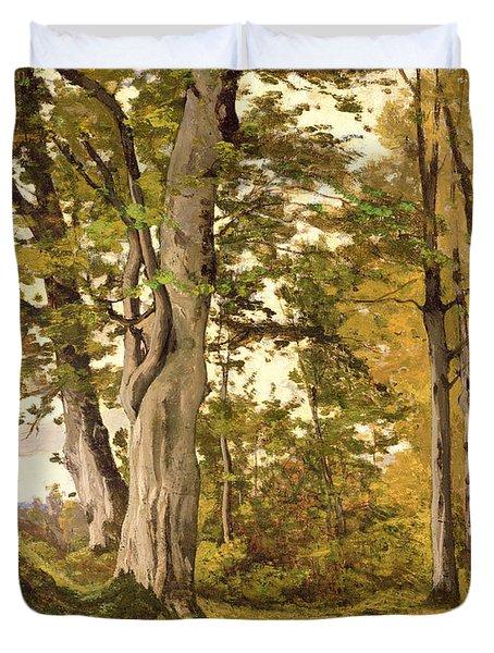 Forest At Fontainebleau Duvet Cover by Henri-Joseph Harpignies