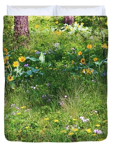 Forest Flowers Landscape Duvet Cover by Carol Groenen