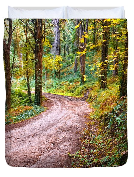 Forest Footpath Duvet Cover by Carlos Caetano