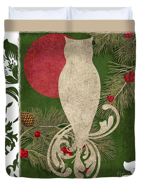 Forest Holiday Christmas Owl Duvet Cover by Mindy Sommers