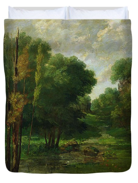 Forest Landscape Duvet Cover by Gustave Courbet