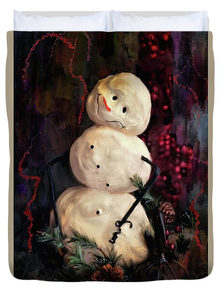 Forest Snowman Duvet Cover by Lois Bryan