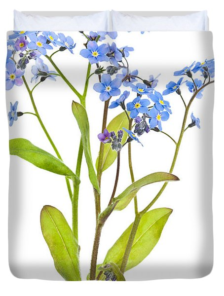 Forget-me-not Flowers On White Duvet Cover by Elena Elisseeva