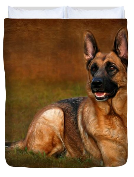 Forrest The German Shepherd Duvet Cover by Angie Tirado