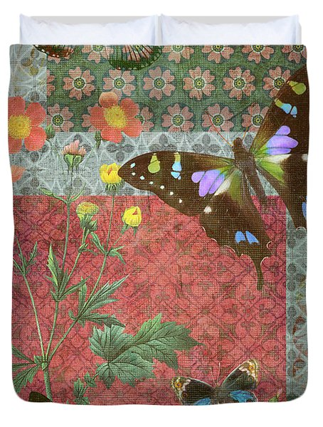 Four Butterfly Patch Green Duvet Cover by JQ Licensing