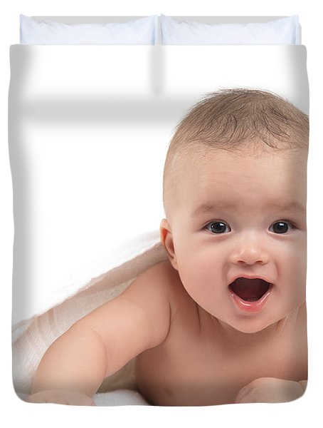 Four Month Old Baby Boy Duvet Cover by Oleksiy Maksymenko