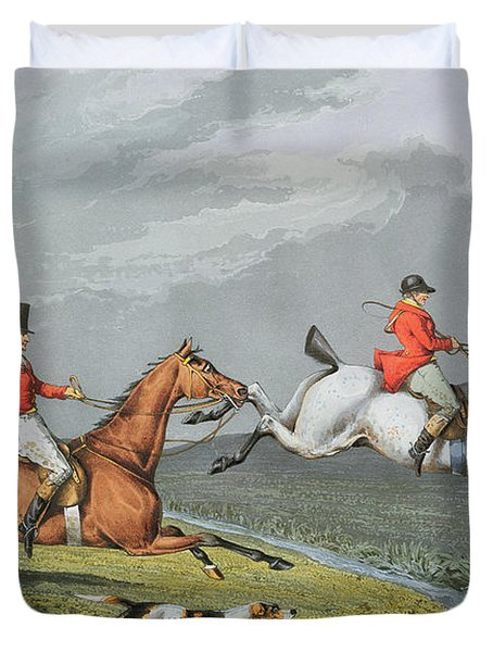 Fox Hunting - Full Cry Duvet Cover by Charles Bentley
