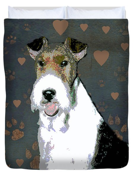 Fox Terrier Wire Duvet Cover by One Rude Dawg Orcutt
