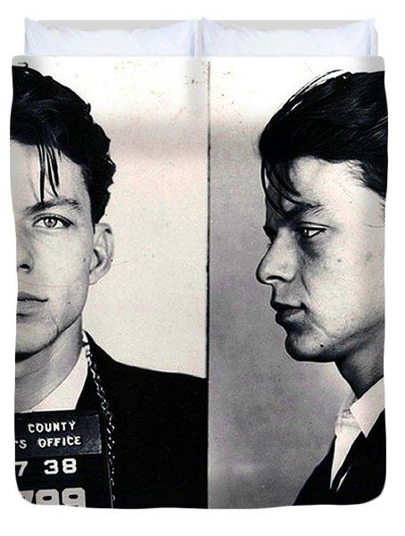 Frank Sinatra Mug Shot Horizontal Duvet Cover by Tony Rubino